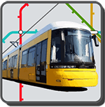Berliner Straßenbahn vor stilisiertem Liniennetz