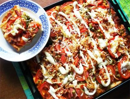 Пицца рецепт в домашних условиях с колбасой и сыром в