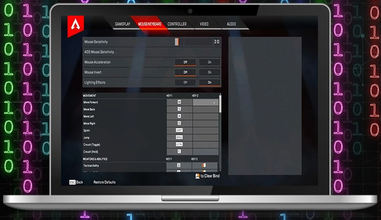Apex Legends Pro Settings for Keyboard and Mouse