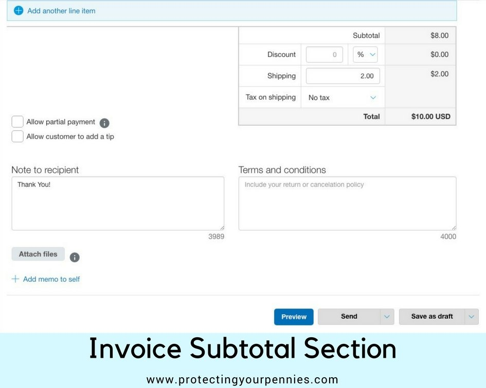 Invoice Subtotal Section