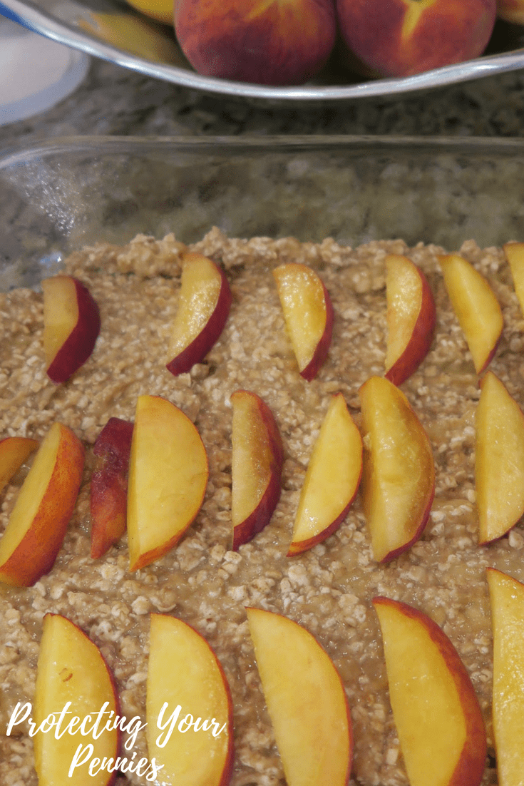 Baked Oatmeal topped with Peaches Pre Bake