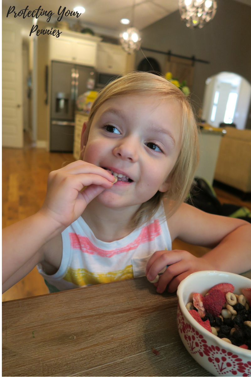 Preschool Kid eating healthy trail mix snack