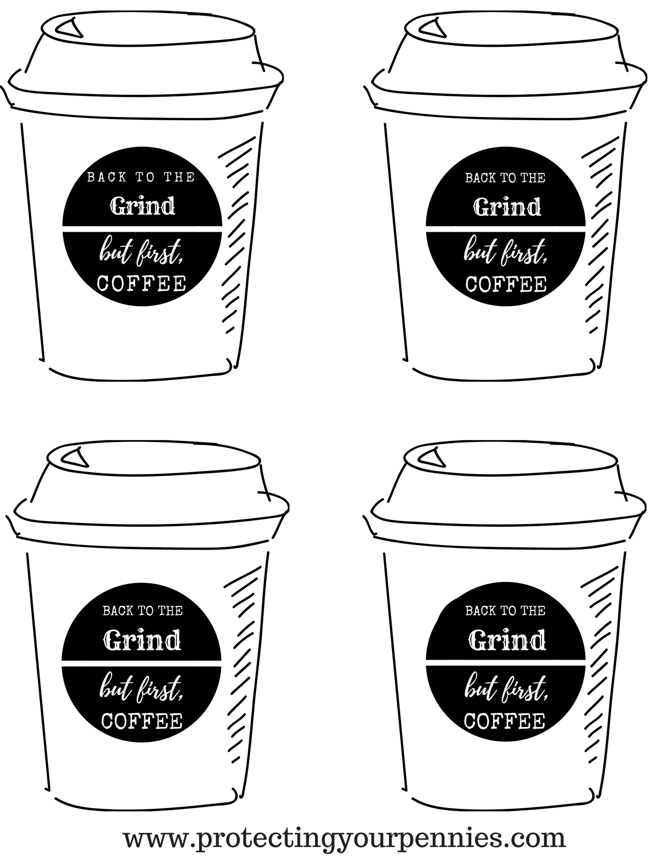 Back to the Grind Printable Tag Image