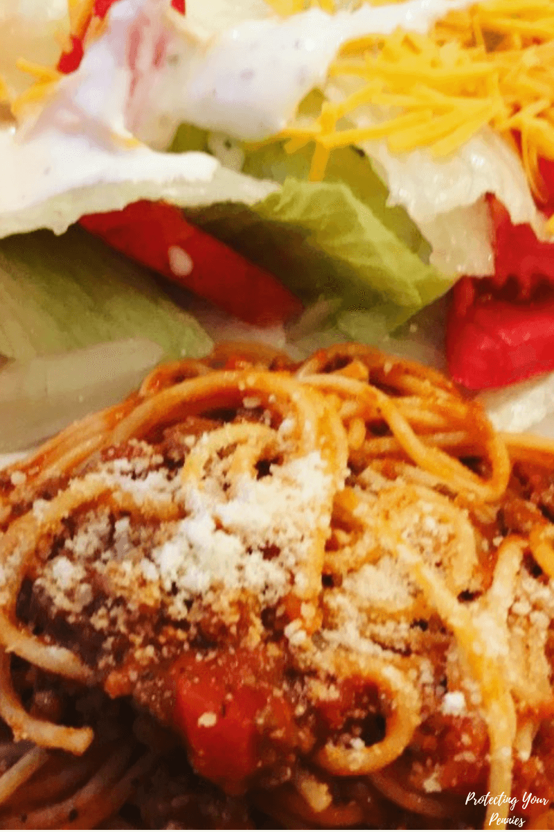 Spaghetti with Dreamfields Pasta and Salad with Ranch - Trim Healthy Mama S Meal