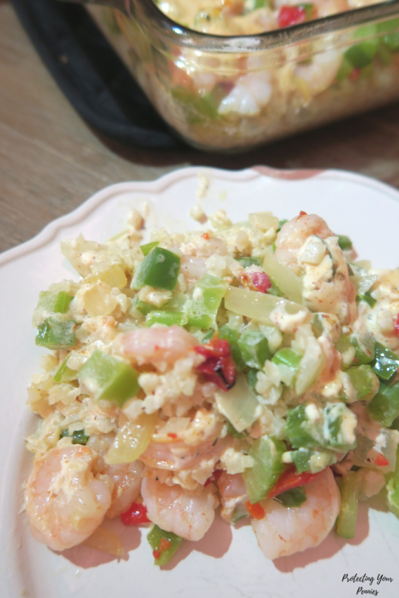 Low Carb Cajun Shrimp Casserole with Cauliflower Rice - Keto Friendly Recipe