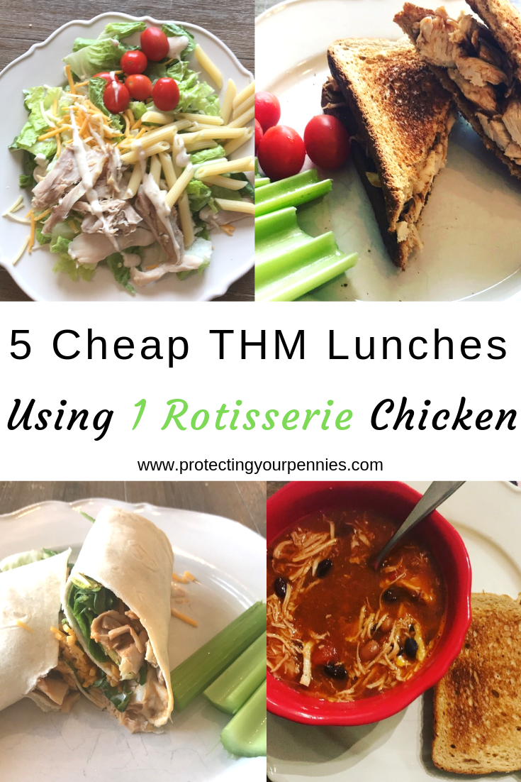 5 Cheap THM Lunches Using 1 Rotisserie Chicken to make staying on plan easy and affordable. Budget Friendly options to stick to your Trim Healthy Mama goals during the week. Great recipe ideas for the Drive Thru Sue that doesn't want to cook a protein for every meal. E meals and S meals.