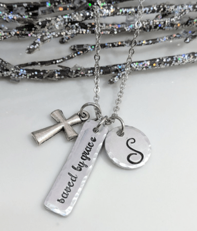 Saved By Grace Necklace with Initial