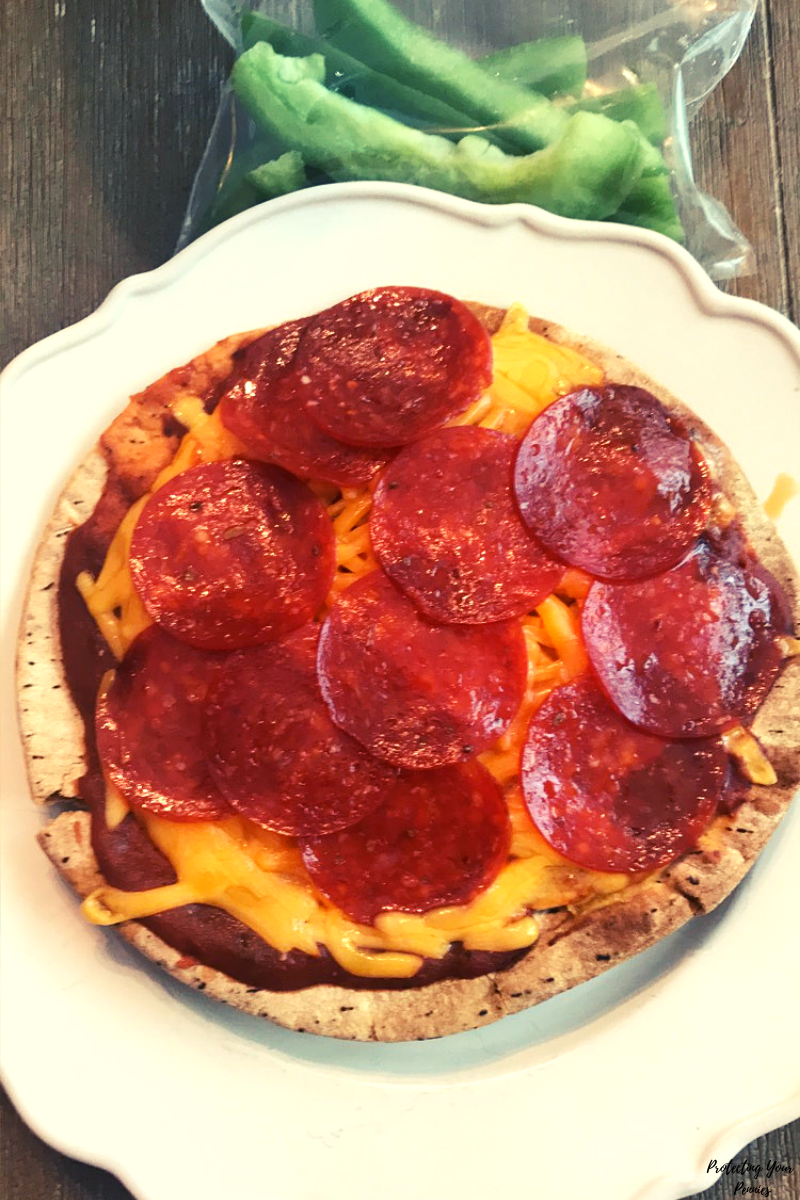 Joseph's Pita Low Carb Pepperoni Pizza and Bell Pepper Slices - THM S Lunch
