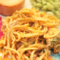 Pimento Cheese Chicken Spaghetti Casserole served with Lima Beans and Bread