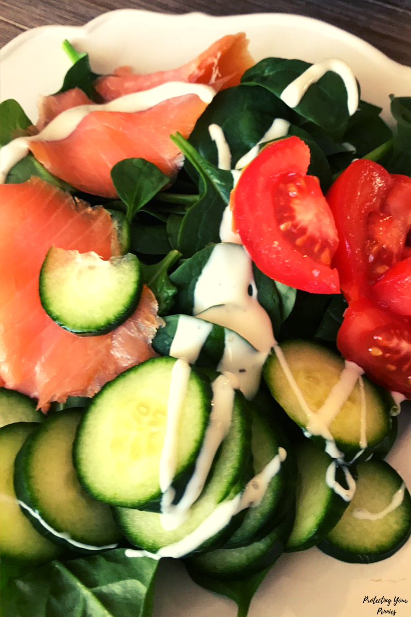 Smoke Salmon Spinach Salad - Low Carb - Keto - THM S