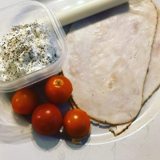 Breakfast - Lunch Meat - tomatoes- Cottage Cheese and String Cheese