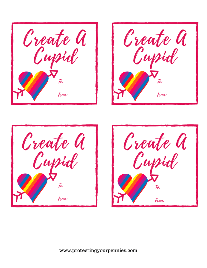 Create A Cupid Homemade Card Free Printable for Valentine's Day