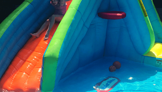 Little Tikes Slam N Curve Inflatable Water Slide with Pool and Rock Wall