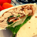 Easy Chicken Bacon Ranch Wrap on Low Carb Mission Tortilla (1)