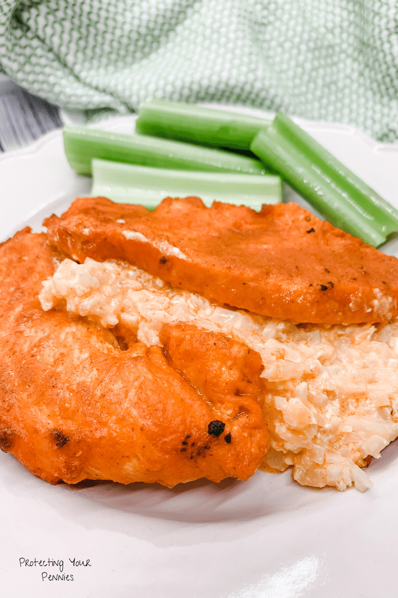 Buffalo Chicken Strips with Buffalo Wing dip Cauli Rice Casserole