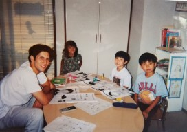 Michael Toben teaching English to japanese children.