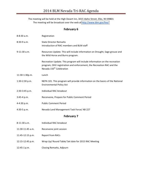 RAC 2014 tri rac agenda