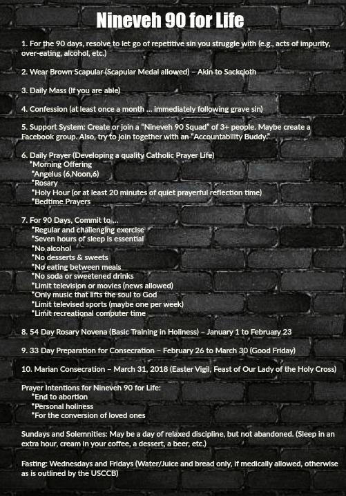 Nineveh 90 Summary Requirements