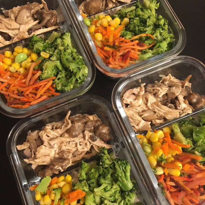 Meal Prep, Mushroom Chicken, Veggies, Rice