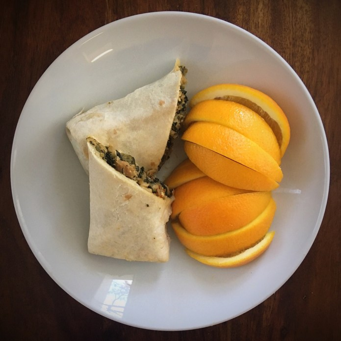 Sweet Earth Greek Burrito and Orange Slices
