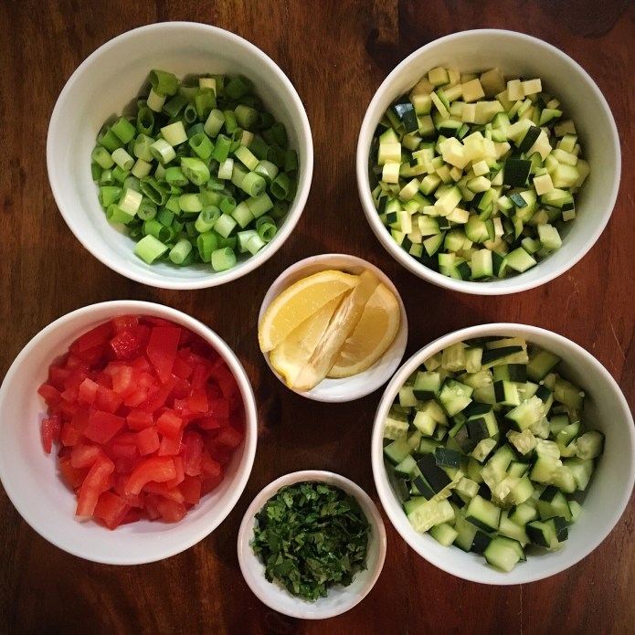 Mise en Place, with Cucumber, Zucchini, Tomato, Green Onion, Cilantro, and Lemon