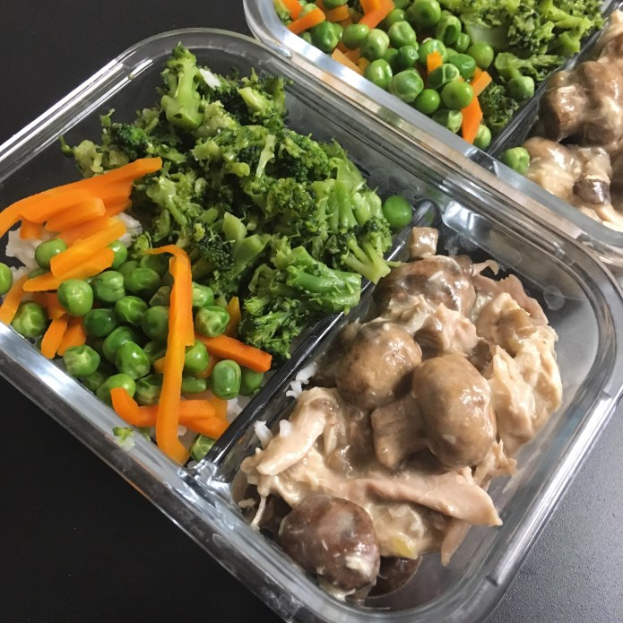 Chicken Mushroom Meal Prep, with White Rice, Broccoli, Carrots, and Peas