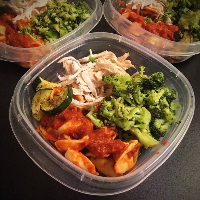 Meal Prep with Chicken, Cheese Tortellini, Broccoli, and Zucchini
