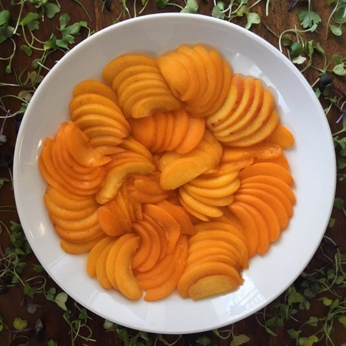 Nectarines, Sliced, and Plated