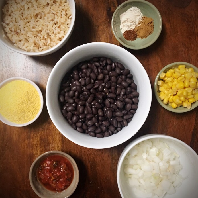 Black Bean Burger Mise En Place: Black Beans, Corn, Onions, Salsa, Cornmeal, Spices, Brown Rice