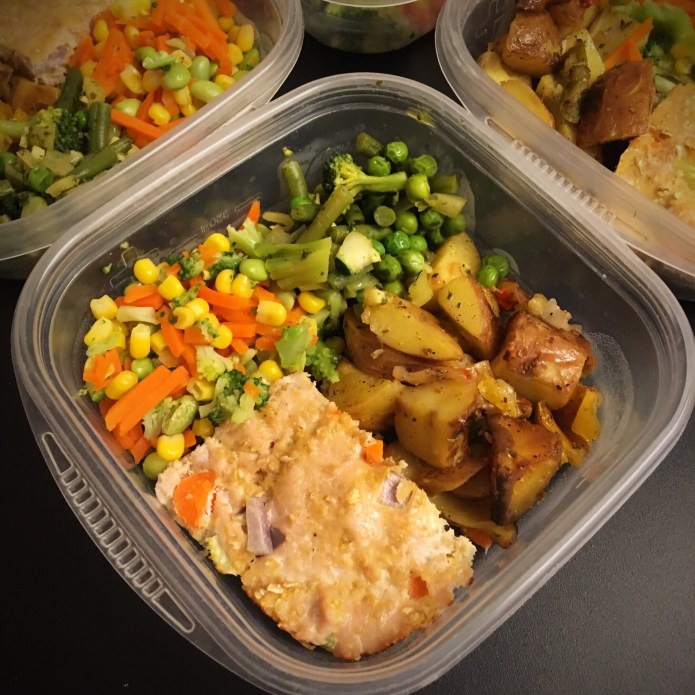 Turkey Meatloaf Meal Prep with Veggies: Corn, Carrots, Broccoli, Edamame, Peas, Green Beans, Potatoes, Onions, and Peppers
