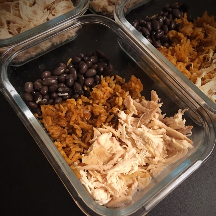 Burrito Bowl Meal Prep with Black Beans, Spanish Rice, and Shredded Chicken