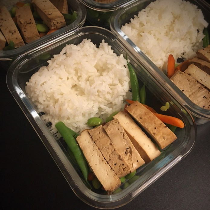 Tofu Meal Prep with Veggies (Carrots, Green Beans, Edamame) and Rice
