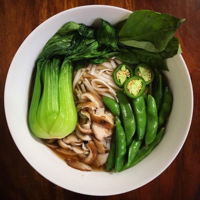 WFPB Vegan Pho with Rice Noodles, Sugar Snap Peas, Jalapeño Peppers, Mushrooms, Bok Choy, and Basil