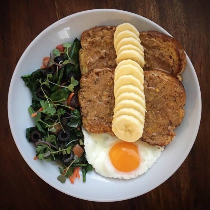 French Toast with Almond Butter, and Banana; Fried Egg; Spinach Salad