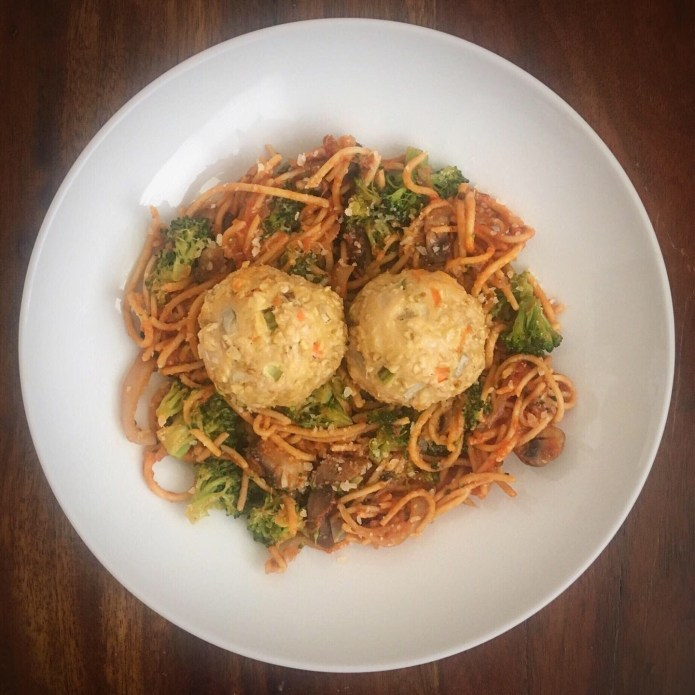 Spaghetti and Meatball Meal Prep, with Mushrooms, Broccoli, and Microgreens, topped with Parmesan