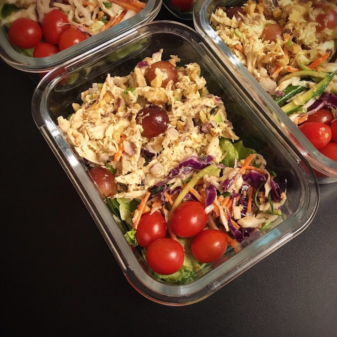 Chicken Waldorf Salad with Grapes and Walnuts, and a Side of Slaw, plus Tiny Tomatoes