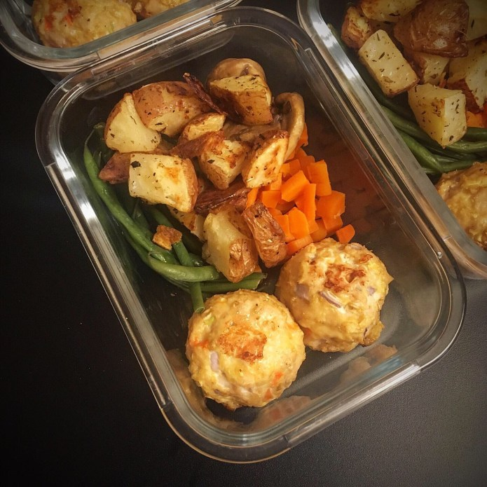 Turkey Meatballs with Carrots and Green Beans, and Potatoes