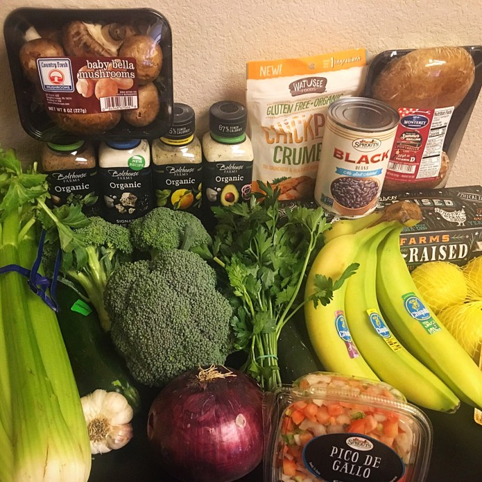Groceries from Sprouts; fresh fruits and vegetables, plus eggs, canned beans, and sugar free dressings