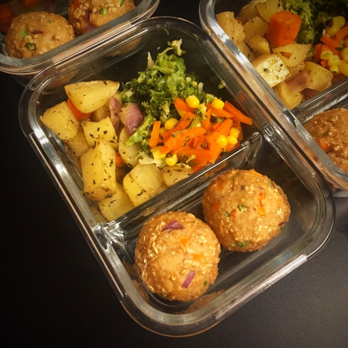 Meatball Meal Prep with Potatoes and Veggies