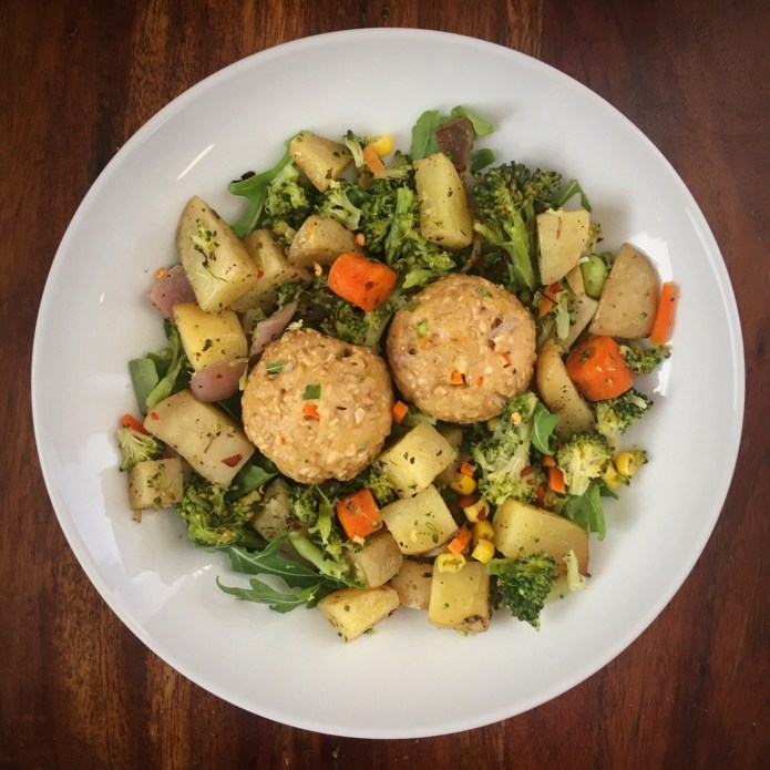 Turkey Meatball Veggie Monster with Broccoli, Carrots, Corn, Arugula, and Potatoes