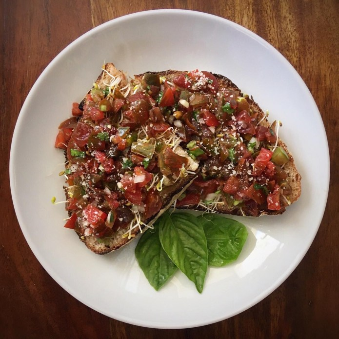 Chocolate Tomatoes Pico / Bruschetta on Toast with Sprouts, Basil, and Parmesan Cheese