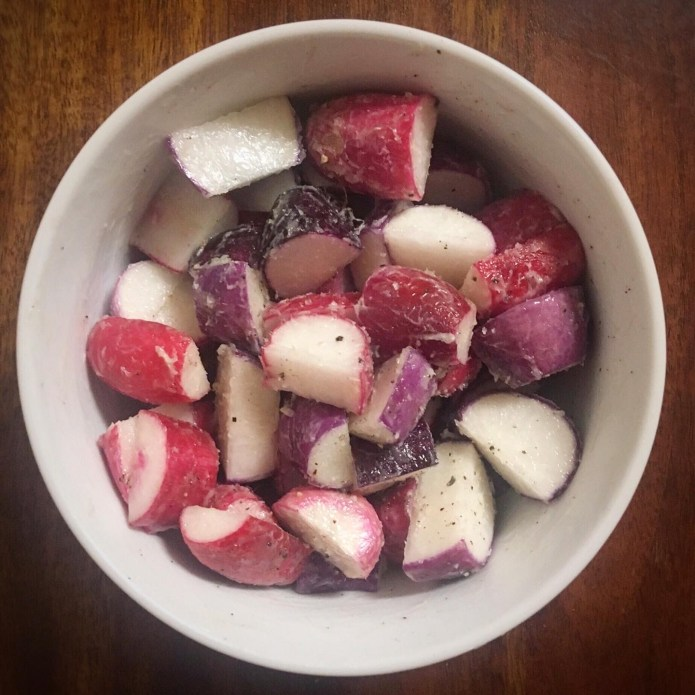 Radishes, Trimmed, and Coated in Butter