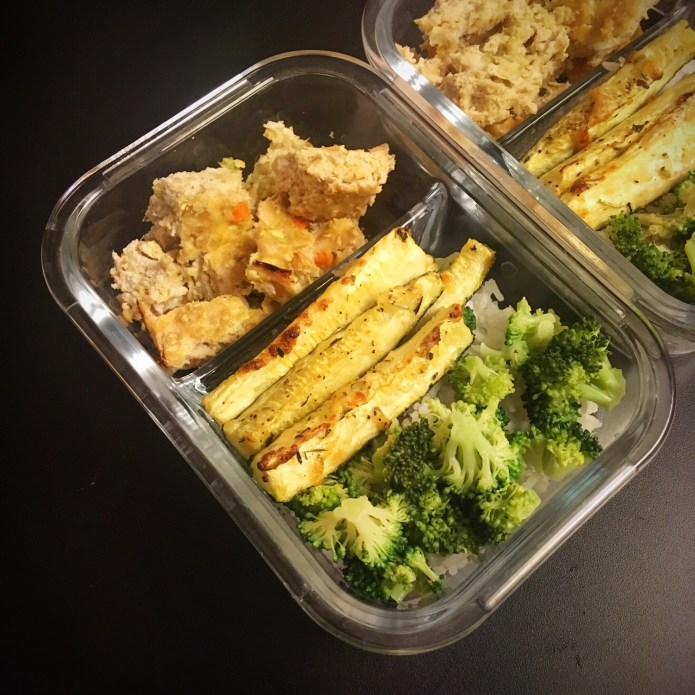 Turkey Meatloaf Meal Prep with Zucchini, Rice, and Broccoli