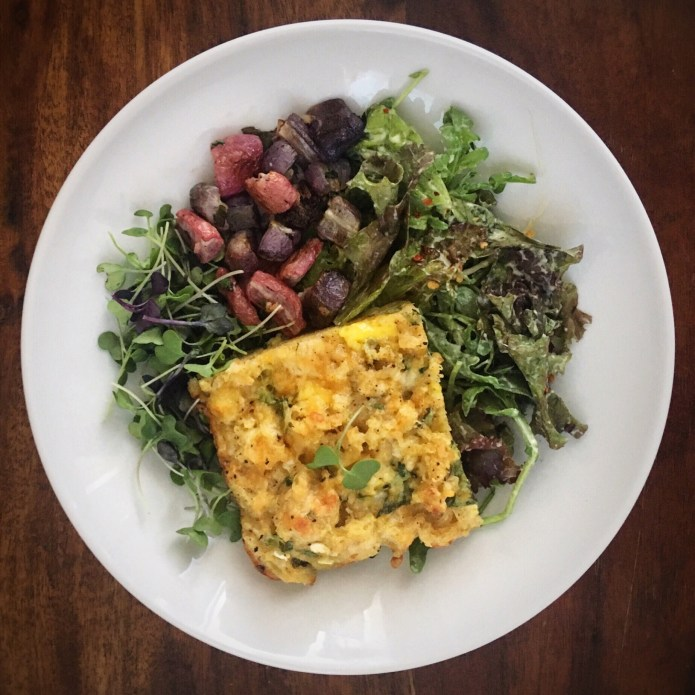 Egg Bake, Radishes, Microgreens, and Regular Sized Greens