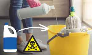 Man pouring bleach in mop bucket