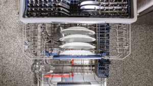 Bacteria and virus contaminated dishwashwer