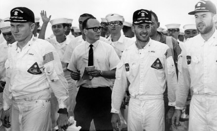 Left to right: Borman, Holcomb, Anders, and Lovell on the deck of the USS Yorktown. Image Credit: AP Photo/Bob Schultz.