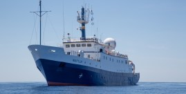 """The Exploration Vessel (E/V) Nautilus is a 211 foot former East German """"fishing boat"""" fully outfitted for scientific exploration. Image Credit: OET/Nautilus Live"""