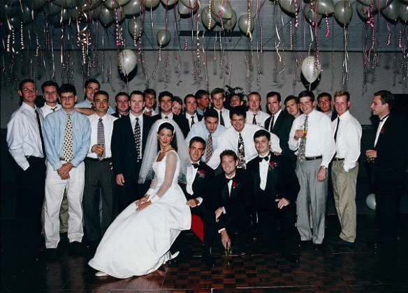 This pick was right after graduation at one of my friend's weddings. These are all my fraternity brothers. I'm the best man kneeling on the front row