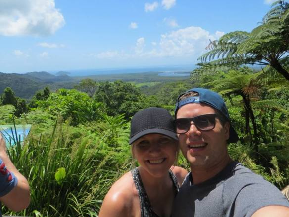 Pictured above is Victoria hiking with her fiancé, Mark, at Cape Tribulation in Queensland